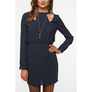 NWT UO SPARKLE & FADE Navy Long Sleeve Cut Out Date Night Dress